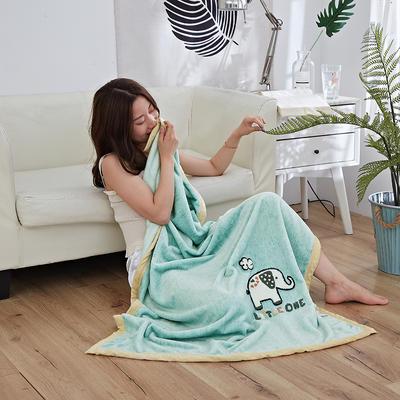 2019新款法兰绒纯色毛毯 空调毯 办公室午睡毯 休闲盖毯子 75cmX100cm 小象-绿