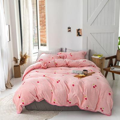 2019新款速暖绒四件套 1.8m床单款四件套 粉红樱桃