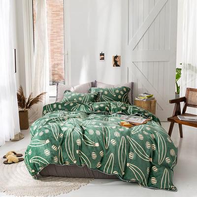 2019新款速暖绒四件套 1.8m床单款四件套 华尔兹绿