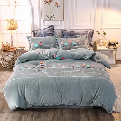 2019新款牛奶绒印花四件套 1.5m(5英尺)床单款 花开暖冬-灰绿