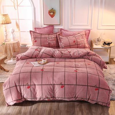2019新款牛奶绒印花四件套 1.5m(5英尺)床单款 樱桃红
