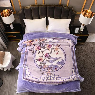 2019新款越细柔天丝云毯 200cmx230cm(3.4斤) 青羽扇-紫