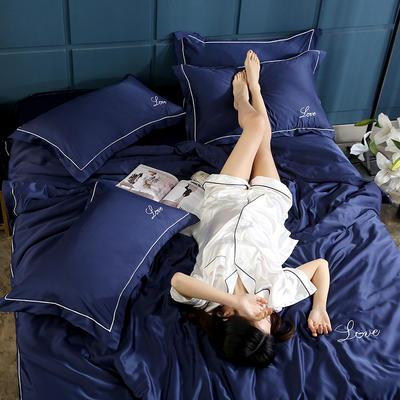 2019新款水洗真丝四件套 1.5m(5英尺)床(床笠款) 宝蓝色