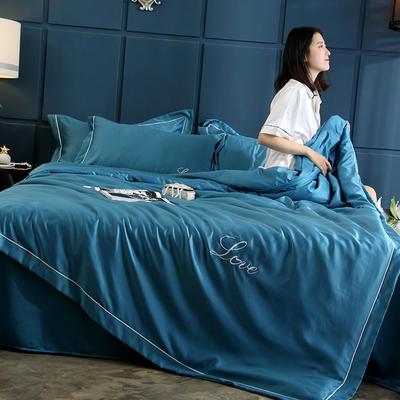 2019新款水洗真丝四件套 1.5m(5英尺)床(床笠款) 孔雀蓝