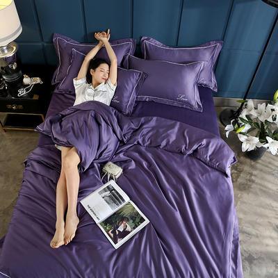 2019新款水洗真丝四件套 1.5m(5英尺)床(床笠款) 冷艳紫
