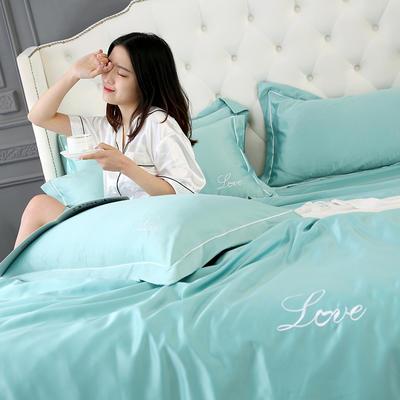 2019新款水洗真丝四件套 1.5m(5英尺)床(床笠款) 优雅绿