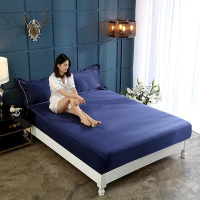 新款水洗真丝透气床笠水洗天丝床笠床罩单件隔尿透气床垫防尘罩席梦思保护套 180cmx200cm 宝蓝色