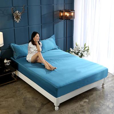 新款水洗真丝透气床笠水洗天丝床笠床罩单件隔尿透气床垫防尘罩席梦思保护套 180cmx200cm 孔雀蓝