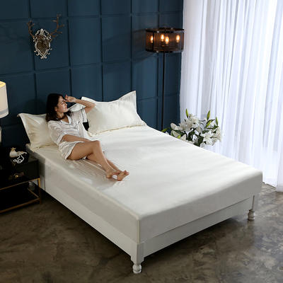 新款水洗真丝透气床笠水洗天丝床笠床罩单件隔尿透气床垫防尘罩席梦思保护套 180cmx200cm 米白色
