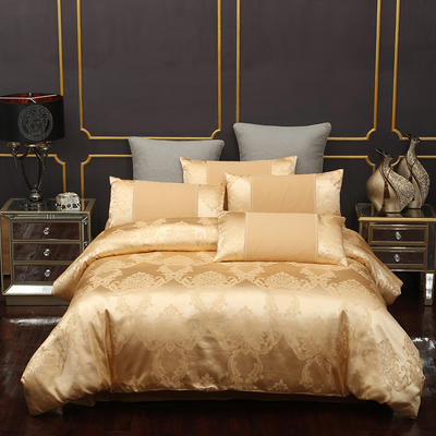2020新款A版贡缎B版全棉提花四件套 1.8m床(床单款) 安吉利娅玫瑰金