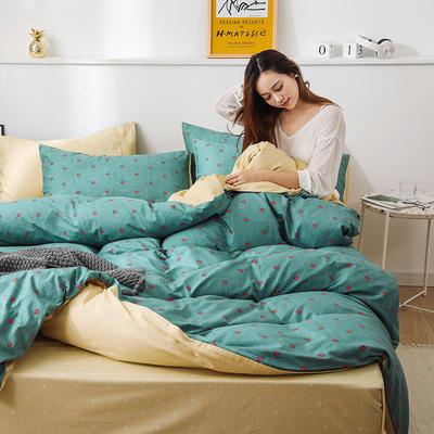 新款12868全棉四件套纯棉可以配床笠款 1.5m床单款四件套 小爱心