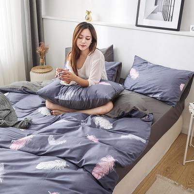 新款12868全棉四件套纯棉可以配床笠款 1.5m床单款四件套 羽叶梦-灰