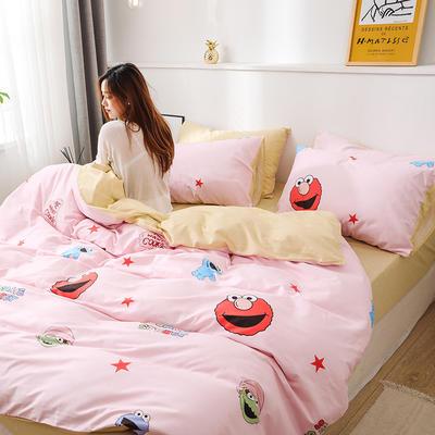 新款12868全棉四件套纯棉可以配床笠款 1.5m床单款四件套 芝麻街