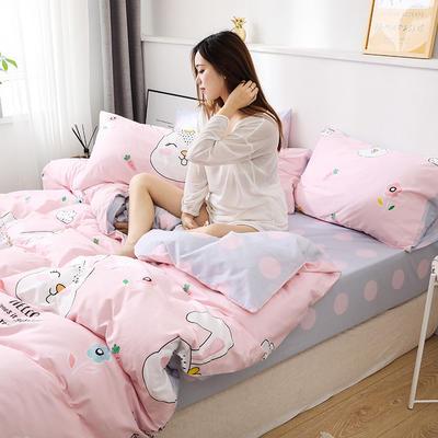 新款12868全棉四件套纯棉可以配床笠款 1.35m床单款三件套 萌兔宝