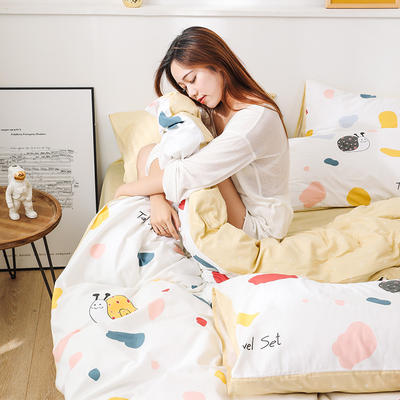 新款12868全棉四件套纯棉可以配床笠款 1.35m床单款三件套 蜗牛之家