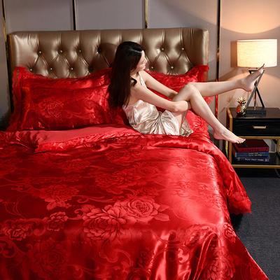 2019新款蕾丝花边四件套 1.8m床单款四件套 花都绽放-大红
