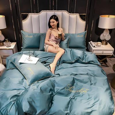 2020新款全棉40绣花长绒棉四件套纯棉轻奢床上用品40s支贡缎滚边工艺款 1.2m床单款三件套 纯色-浅石蓝