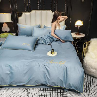 2020新款全棉40绣花长绒棉四件套纯棉轻奢床上用品40s支贡缎滚边工艺款 1.2m床单款三件套 纯色-梵星蓝