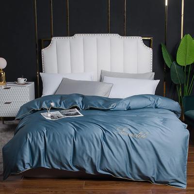 2020新款全棉40刺绣单被套 180x220cm 纯色-宾利蓝