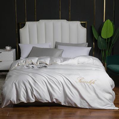 2020新款全棉40刺绣单被套 180x220cm 纯色-高级白