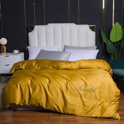 2020新款全棉40刺绣单被套 180x220cm 纯色-姜黄