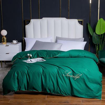 2020新款全棉40刺绣单被套 180x220cm 纯色-墨绿