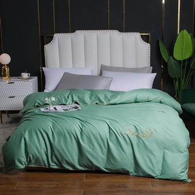 2020新款全棉40刺绣单被套 180x220cm 纯色-青花绿