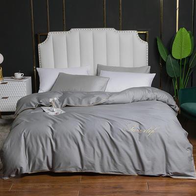 2020新款全棉40刺绣单被套 180x220cm 纯色-银灰
