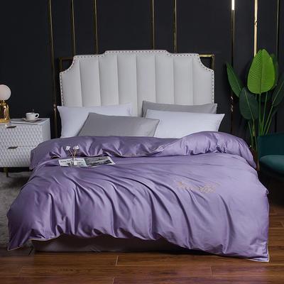 2020新款全棉40刺绣单被套 180x220cm 纯色-优雅紫