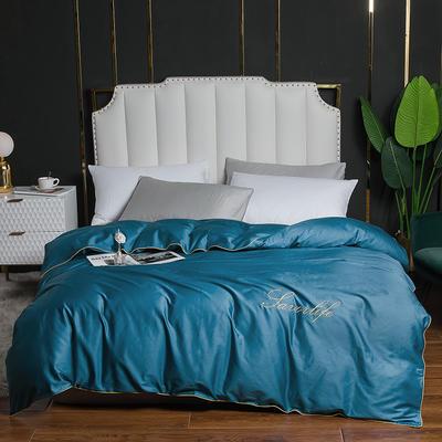 2020新款全棉40刺绣单被套 180x220cm 纯色-月光蓝