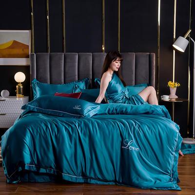 2021新款水洗真丝绣花宽边四件套 1.8m床单款四件套 维也纳-孔雀蓝