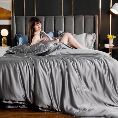 2021新款水洗真丝绣花宽边四件套 1.5m床单款四件套 维也纳-深灰色