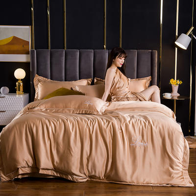 2021新款水洗真丝绣花宽边四件套 1.8m床单款四件套 维也纳-香槟金