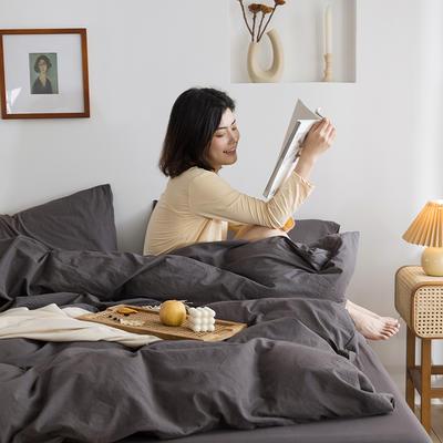 2021新款全棉水洗棉四件套 1.5m床单款四件套 灰色