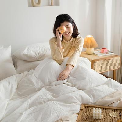 2021新款全棉水洗棉四件套 1.2m床单款三件套 清纯白