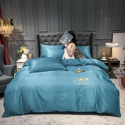 2020新款磨毛纯色绣花系列四件套 1.5m床单款四件套 赫本+月光蓝