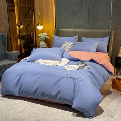 2020新款高克重工艺款臻肤棉系列四件套 被套1.5*2.0床单2.0*2.3床单款四件套 S款--宾利蓝拼豆沙