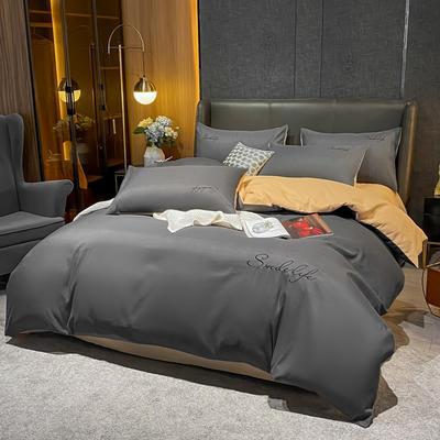 2020新款高克重工艺款臻肤棉系列四件套 被套1.5*2.0床单2.0*2.3床单款四件套 S款--高级灰拼金色