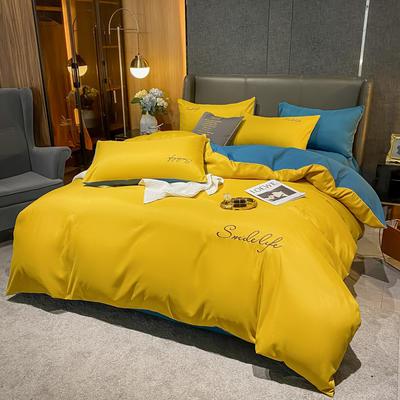 2021新款高克重工艺款臻肤棉系列四件套 被套1.5*2.0床单2.0*2.3床单款四件套 S款--姜黄拼蓝