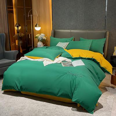 2021新款高克重工艺款臻肤棉系列四件套 被套1.5*2.0床单2.0*2.3床单款四件套 S款--墨绿拼黄