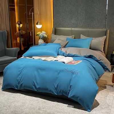 2021新款高克重工艺款臻肤棉系列四件套 被套1.5*2.0床单2.0*2.3床单款四件套 S款--月光蓝拼浅灰