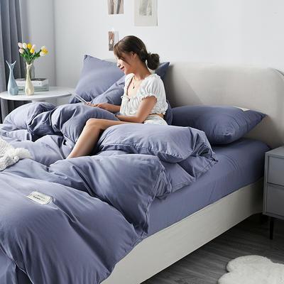 2021新款水洗棉贴布绣亲肤四件套 1.5m床 床单款小号四件套 Q 牛仔蓝