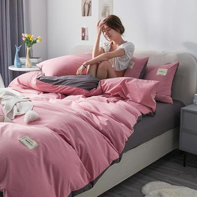 2021新款水洗棉贴布绣亲肤四件套 1.5m床 床单款小号四件套 Q粉+灰色