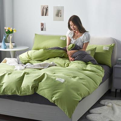 2021新款水洗棉贴布绣亲肤四件套 1.5m床 床单款小号四件套 Q果绿米+灰