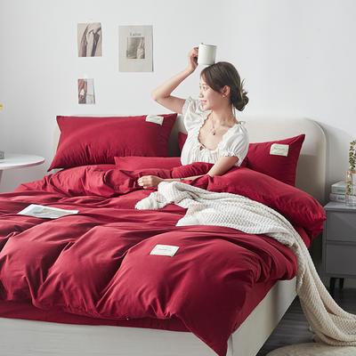 2021新款水洗棉贴布绣亲肤四件套 1.5m床 床单款小号四件套 Q酒红