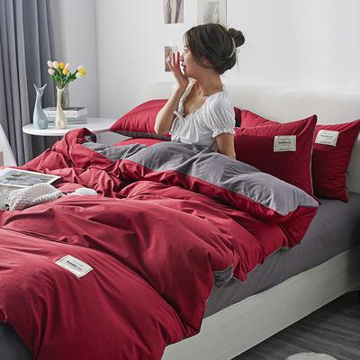 2021新款水洗棉贴布绣亲肤四件套 1.5m床 床单款小号四件套 Q酒红+灰色