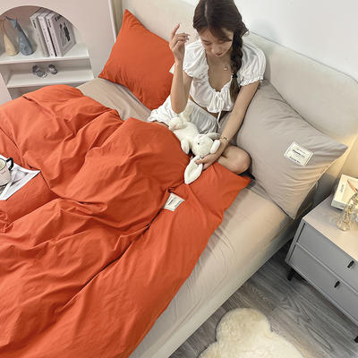 2021新款水洗棉贴布绣亲肤四件套 1.5m床 床单款小号四件套 Q橘色+米色