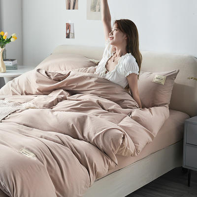 2021新款水洗棉贴布绣亲肤四件套 1.5m床 床单款小号四件套 Q米色