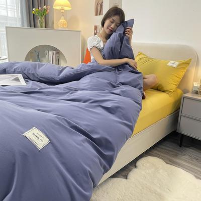 2021新款水洗棉贴布绣亲肤四件套 1.5m床 床单款小号四件套 Q牛仔蓝+浅黄