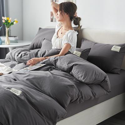 2021新款水洗棉贴布绣亲肤四件套 1.5m床 床单款小号四件套 Q深灰
